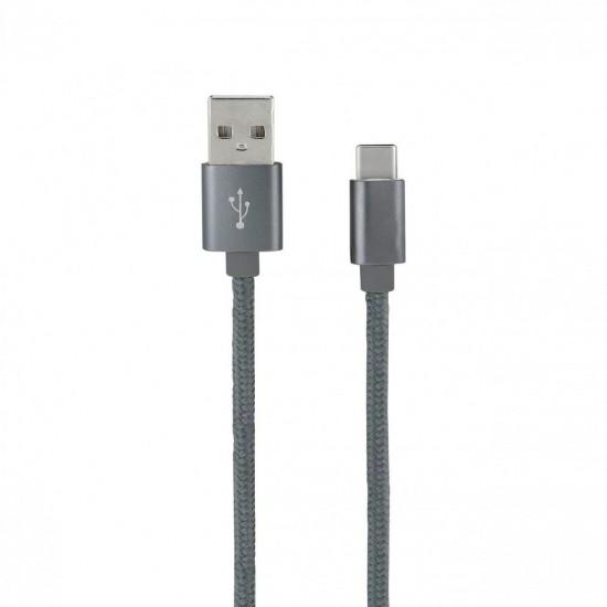 CARREGADORES USB CABO NYLON TIPO C CINZENTO 1MT