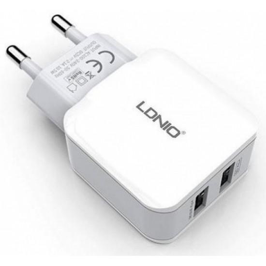 CARREGADOR REDE LDNIO 2.4A DULPO USB