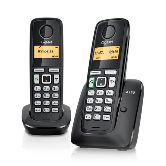 TELEFONE SEM FIOS GIGASET A220 DUPLO - PRETO